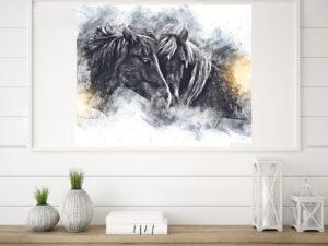Flot plakat af to islandske heste