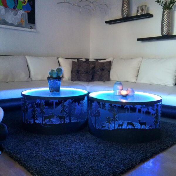 Sofabord af stål med vildtmotiv