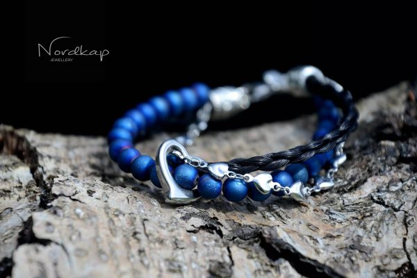 Modell 8 blå perler sølv