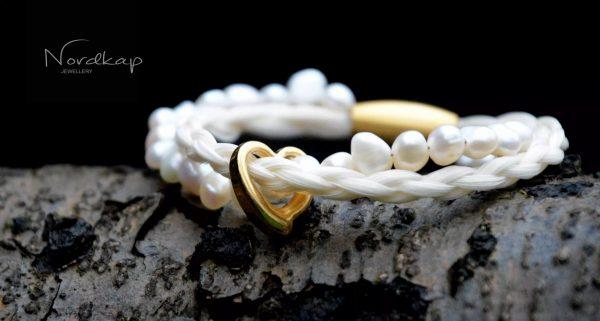 Modell 1 hvide perler - gylden