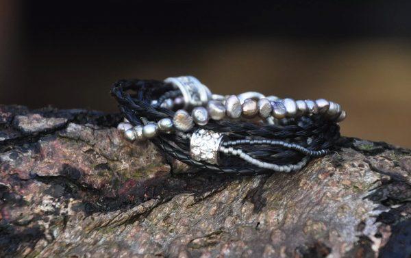 Modell 4 perlemor perler sølv